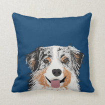 Australian Shepherd - blue merle dog pillow