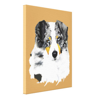 Australian Shepherd Blue Merle Dog Portrait Canvas Print