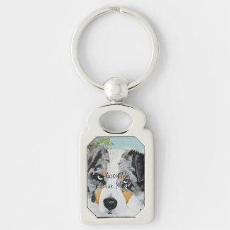 "Australian Shepherd ""Blue Merle Portrait"" Painting Silver-Colored Rectangular Metal Keychain"