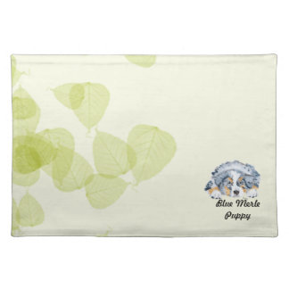 Australian Shepherd Blue Merle Puppy -Green Leaves Cloth Placemat