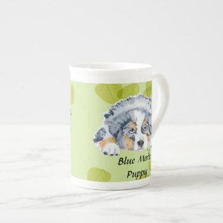 Australian Shepherd Blue Merle Puppy -Green Leaves Tea Cup
