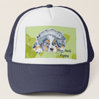 Australian Shepherd Blue Merle Puppy -Green Leaves Trucker Hat