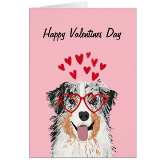 Australian Shepherd Blue Merle Valentines Dog card
