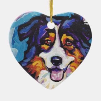 Australian shepherd Bright Colorful Pop Dog Art Ceramic Ornament