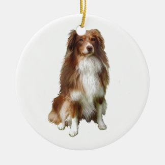 Australian Shepherd (C) - Red-white Ceramic Ornament