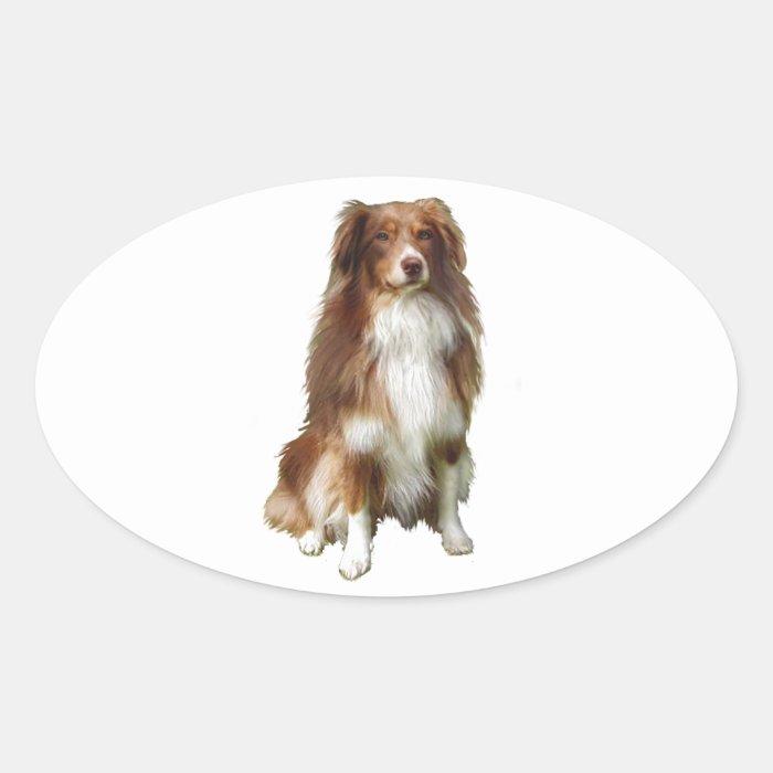 Australian Shepherd (C)   Red white Oval Sticker