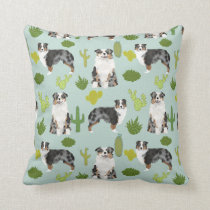 Australian Shepherd Cactus Throw Pillow