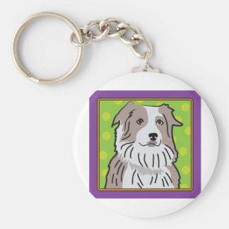 Australian Shepherd Cartoon Basic Round Button Keychain
