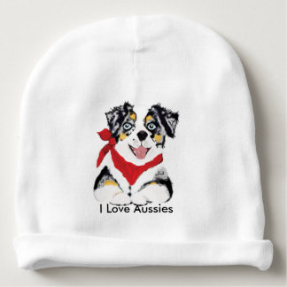 Australian Shepherd Cartoon Blue Puppy Baby Beanie