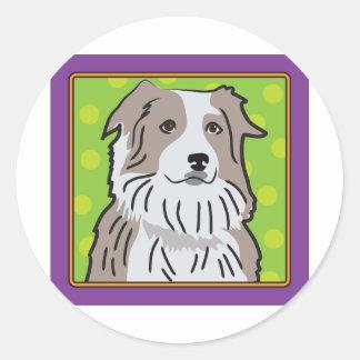 Australian Shepherd Cartoon Classic Round Sticker