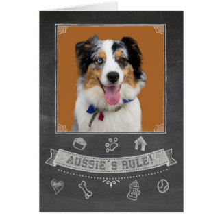 Australian Shepherd Chalkboard Birthday Card