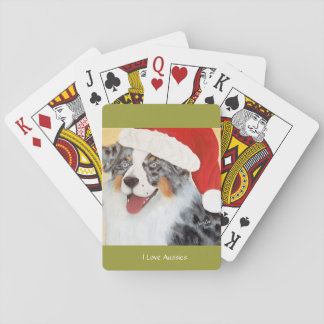 "Australian Shepherd ""Christmas Aussie"" Painting Playing Cards"