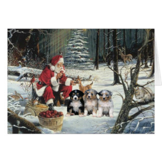 Australian Shepherd Christmas Card Woods