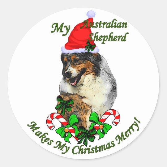 Australian Shepherd Christmas Gifts Classic Round Sticker