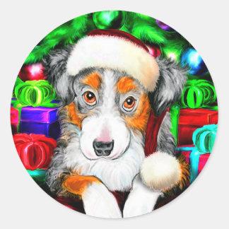 Australian Shepherd Christmas Open Gifts Classic Round Sticker