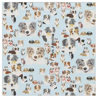 "Australian Shepherd Collage Cus. Cotton 56"" Fabric"