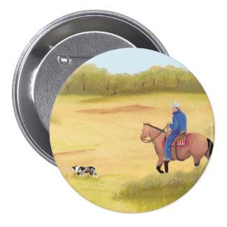 Australian Shepherd ~ Cowboy ~ Morning Ride Button