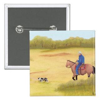 Australian Shepherd ~ Cowboy ~ Morning Ride Pinback Button