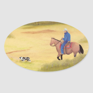 Australian Shepherd ~ Cowboy ~ Morning Ride Oval Stickers