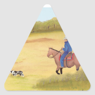 Australian Shepherd ~ Cowboy ~ Morning Ride Triangle Sticker