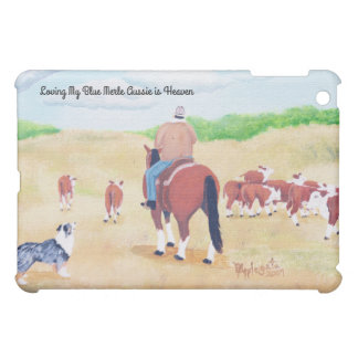 Australian Shepherd, Cowboy on Cattle Round Up iPad Mini Cover