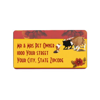 Australian Shepherd Cowdog on Autumn Floral Label