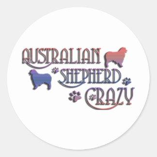 AUSTRALIAN SHEPHERD CRAZY CLASSIC ROUND STICKER