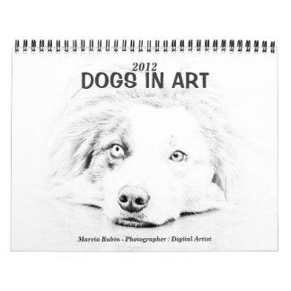 Australian Shepherd dog art Wall Calendar