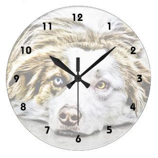Australian Shepherd dog art Clocks