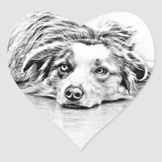 Australian Shepherd dog art Heart Sticker