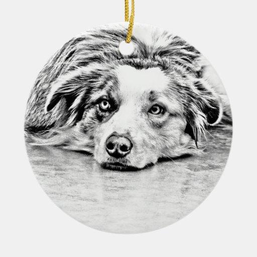 Australian Shepherd dog art Christmas Ornament