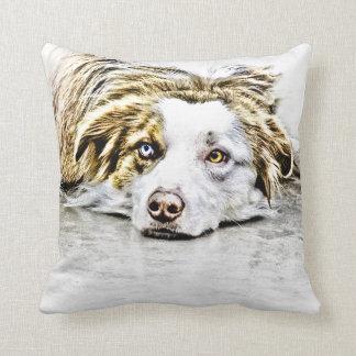 Australian Shepherd dog art Pillow