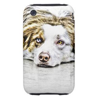 Australian Shepherd dog art Tough iPhone 3 Case