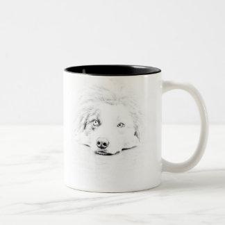 Australian Shepherd dog art Two-Tone Coffee Mug