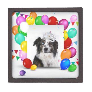 Australian Shepherd Dog Balloons Crown Birthday Keepsake Box