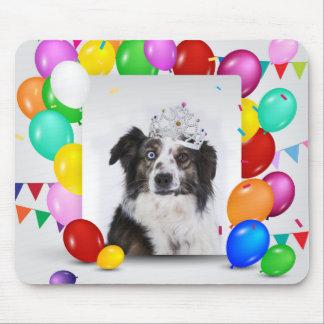 Australian Shepherd Dog Balloons Crown Birthday Mouse Pad