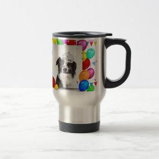 Australian Shepherd Dog Balloons Crown Birthday Travel Mug