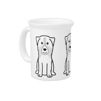 Australian Shepherd Dog Cartoon Beverage Pitcher