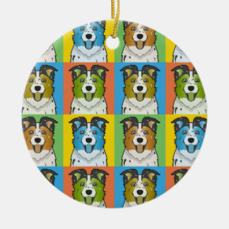 Australian Shepherd Dog Cartoon Pop-Art Christmas Tree Ornament