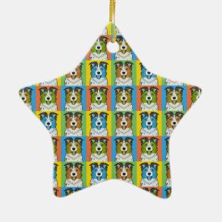 Australian Shepherd Dog Cartoon Pop-Art Christmas Ornaments