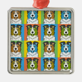 Australian Shepherd Dog Cartoon Pop-Art Christmas Ornament
