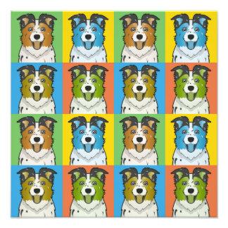 Australian Shepherd Dog Cartoon Pop-Art Photo Art