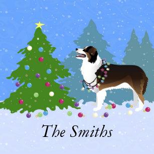australian shepherd dog decorating christmas tree ceramic ornament