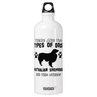 australian shepherd dog designs aluminum water bottle
