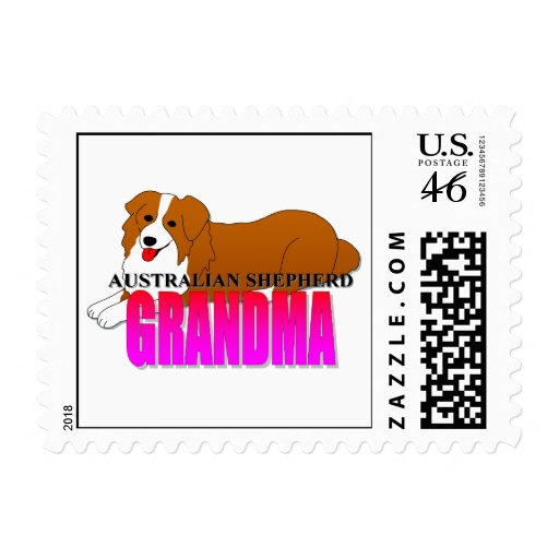 Australian Shepherd Dog Grandma Stamps