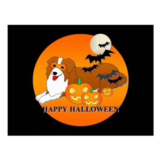 Australian Shepherd Dog Halloween Postcard
