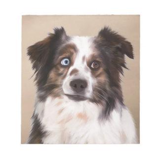 Australian Shepherd Dog Oil Painting Art Notepad
