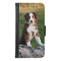 Australian Shepherd dog puppy Animal Photo - Wallet Phone Case For Samsung Galaxy S6