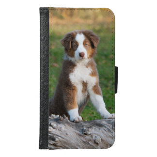 Australian Shepherd dog puppy Animal Photo - Wallet Phone Case For Samsung Galaxy S6