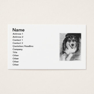 Australian Shepherd Drawing Business Card